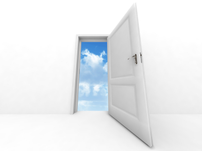 Door with clouds