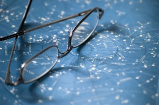 Glasses on star map